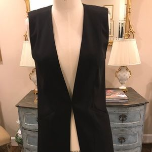Trouves Long Black Vest NWOT